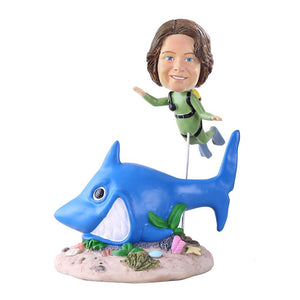 Custom Green Wetsuit Scuba Diver With Shark Bobblehead