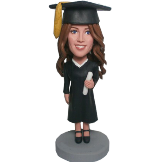 Custom Wear A Hat Graduation Girl Bobblehead