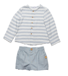 Dusty Blue Striped Shirt & Short