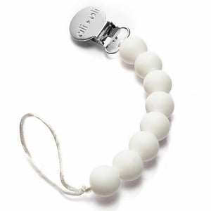 Modern Pacifier Clip - White