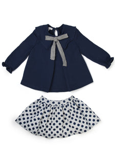 Navy Polka Dot Set