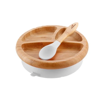 Bamboo Suction Baby Plate & Spoon - White