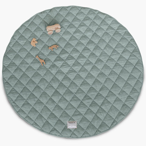 Quilted Linen Play Mat - Aqua