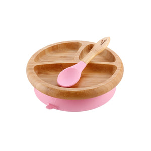 Bamboo Suction Baby Plate & Spoon - Pink