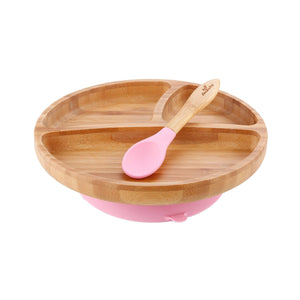 Bamboo Suction Toddler Plate & Spoon - Pink