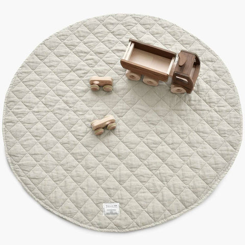 Quilted Linen Play Mat - Natural