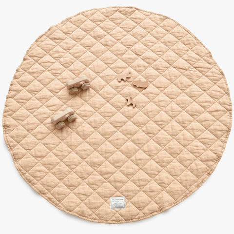 Quilted Linen Play Mat - Oat