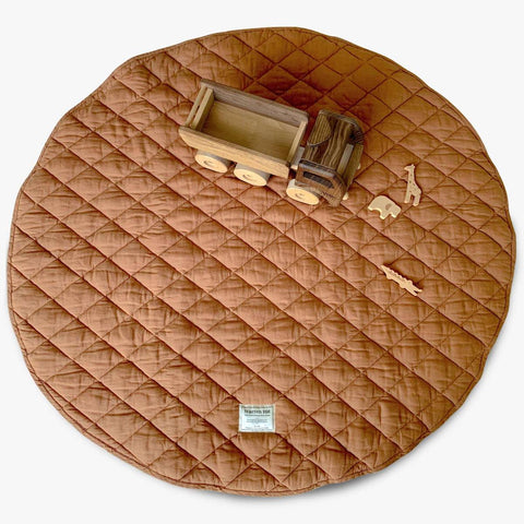 Quilted Linen Play Mat - Rust
