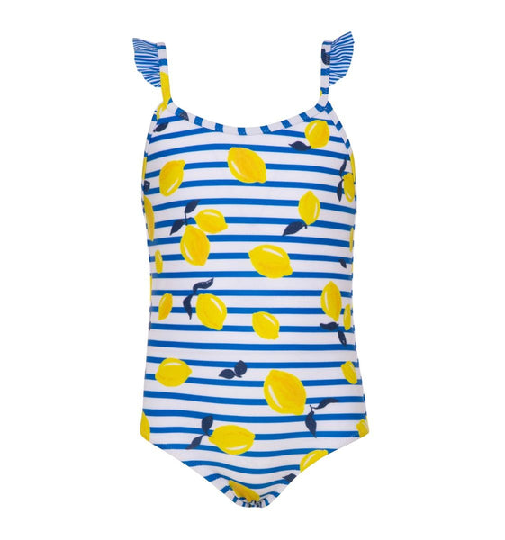 Blue Sicilian Lemon Frill Strap Swimsuit
