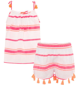 Pink Multistripe Cotton Short Set