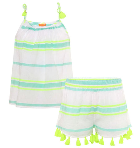 Aqua Multistripe Cotton Short Set