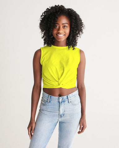 Yellow Aesthetic Women's Twist-Front Tank