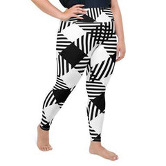 Womens Athletic Pants, Black and White Plaid Style Plus Size High Waist Yoga Leggings