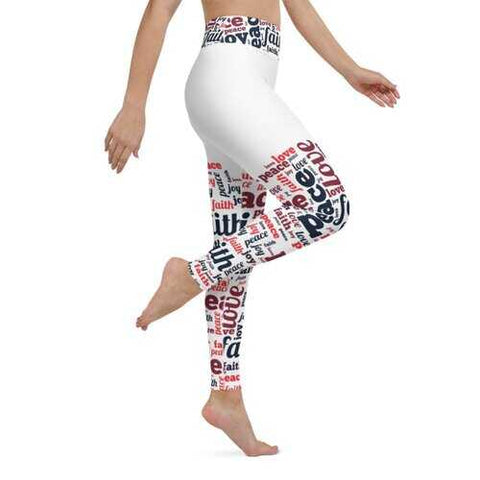 Womens Athletic Pants, Peace Love Joy Faith Graphic Style Yoga Leggings