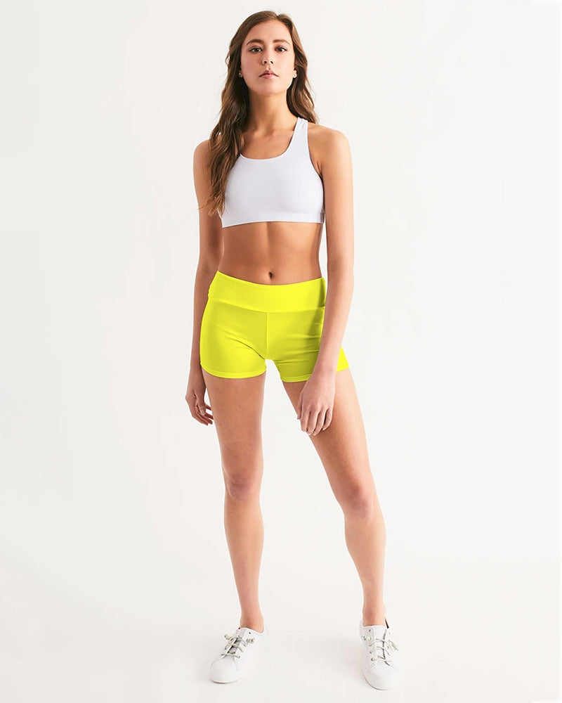 Yellow Aesthetic Women's Mid-Rise Yoga Shorts