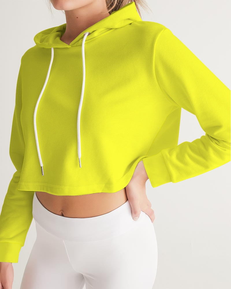 Yellow Aesthetic Women's Cropped Hoodie