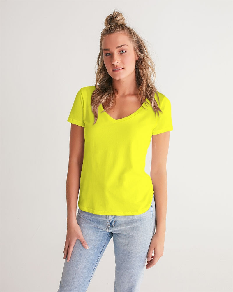 Yellow Aesthetic Women's V-Neck Tee