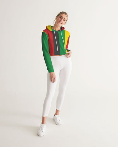 Rasta Stripes Inspired Women's Cropped Hoodie