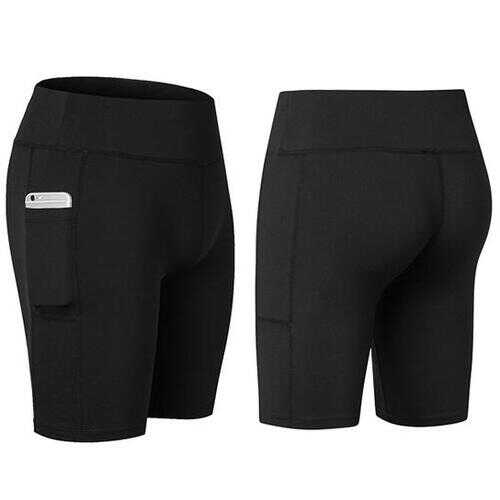 All Seasons Yoga Shorts Stretchable With Phone Pocket -Size: Small, Color: Black