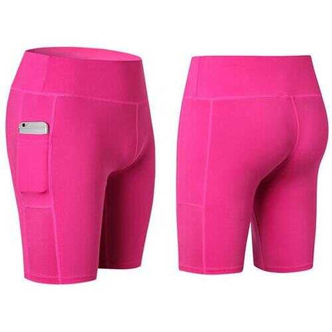 All Seasons Yoga Shorts Stretchable With Phone Pocket -Size: Small, Color: Pink