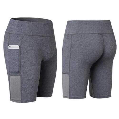 All Seasons Yoga Shorts Stretchable With Phone Pocket -Size: Small, Color: Gray