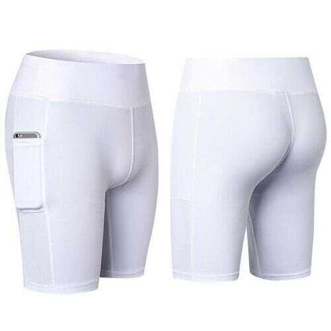 All Seasons Yoga Shorts Stretchable With Phone Pocket -Size: Medium, Color: White