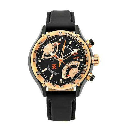 TX T3C178 Flyback Black Dial Rose Gold Bezel Men's Leather Dual Time Chronograph Watch