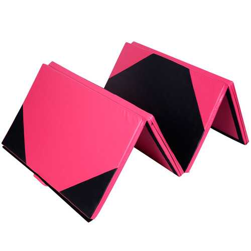 "4'x10'x2"" Extra Thick Anti-Tear Folding Gymnastics Exercise Mat - Color: Black - Size: 4'x10'x2"""