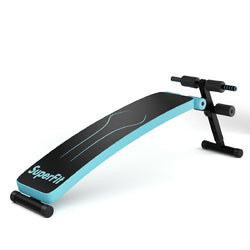 Folding Weight Bench Adjustable Sit-up Board Workout Slant Bench-Blue - Color: Blue