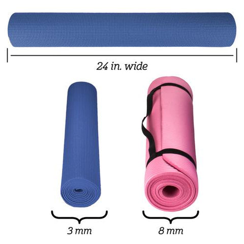 1/8-inch (3mm) Compact Yoga Mat with No-Slip Texture - Black