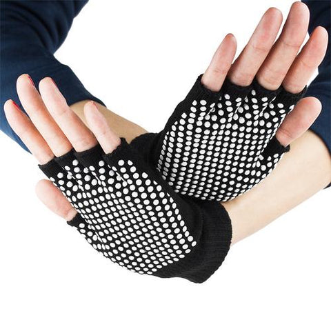 Black Fingerless Yoga Gloves with Slip-Free Beads