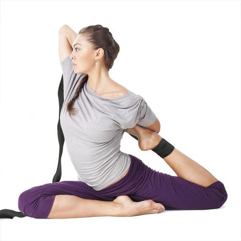 Black 8' Cotton Yoga Strap with Metal D-Ring