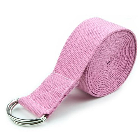 Pink 10' Extra-Long Cotton Yoga Strap with Metal D-Ring