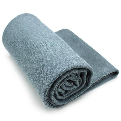 Gray Non-Slip Microfiber Hot Yoga Towel with Carry Bag