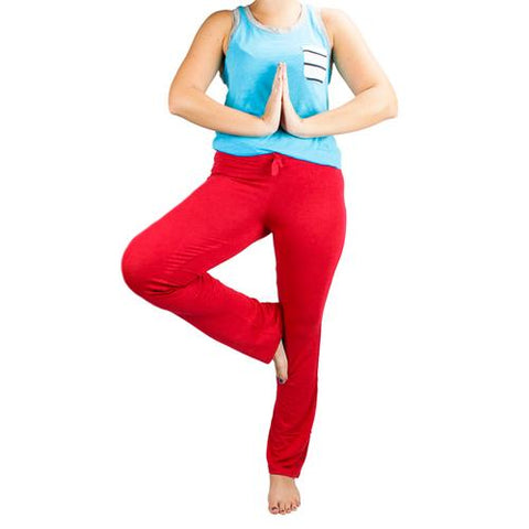 Medium Red Relaxed Fit Yoga Pants