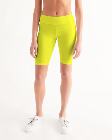 Yellow Aesthetic Women's Mid-Rise Bike Shorts