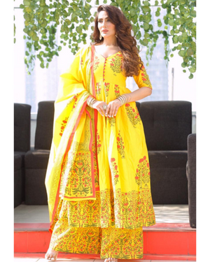 YELLOW MEHRRAB COTTON SUIT SET