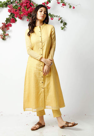 YELLOW KOTA COTTON SUIT SET