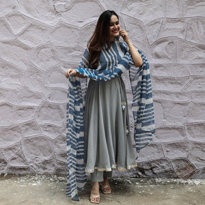 SOFT GREY SUIT SET WITH BLUE DUPATTA