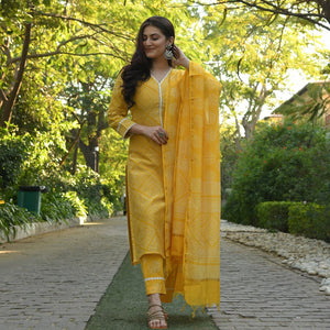 MANGO YELLOW STRAIGHT SUIT SET
