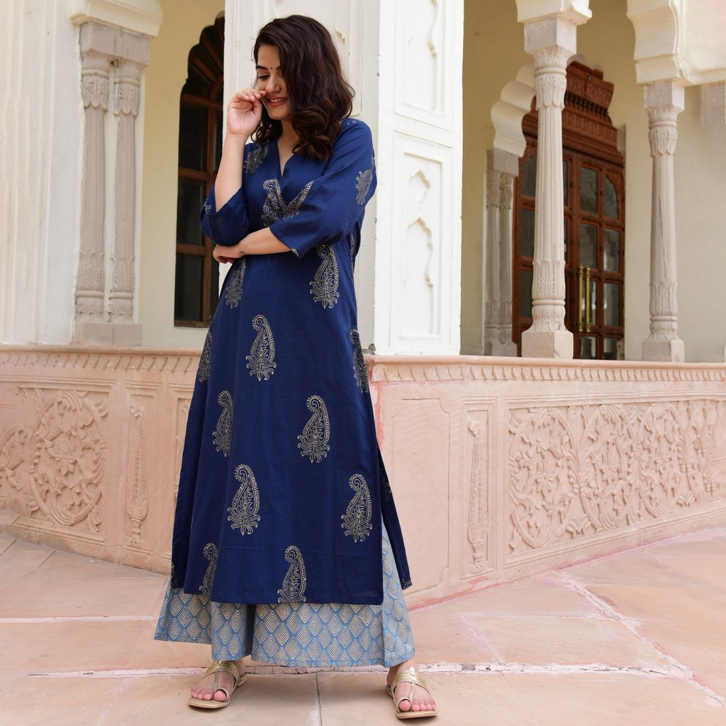 BLUE  HANDBLOCK COTTON KURTA SET