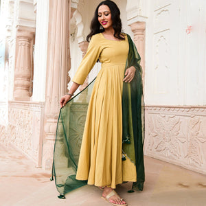 GOLD BEIGE COTTON ANARKALI SET