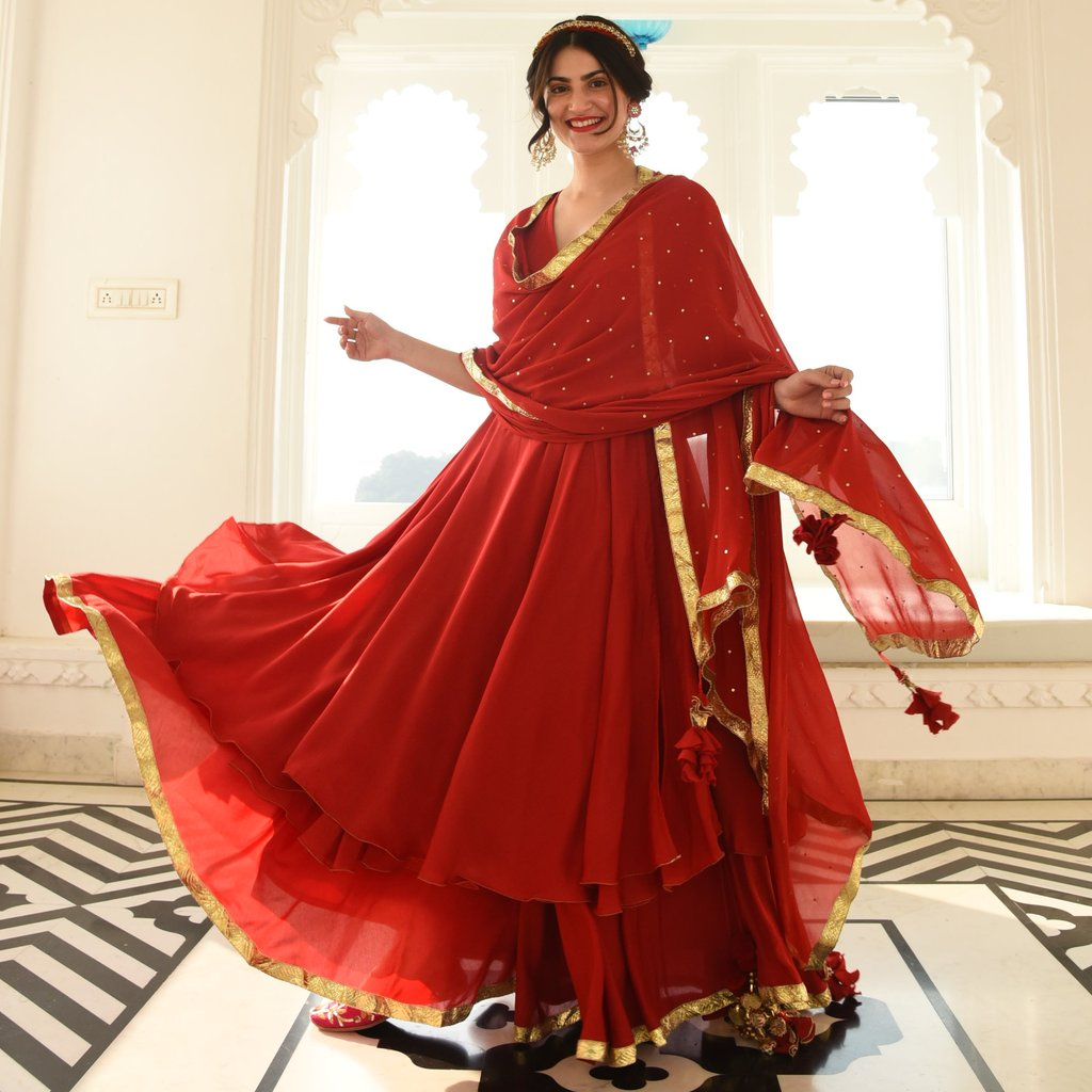 GRAND ROYAL ANARKALI SUIT SET IN RED