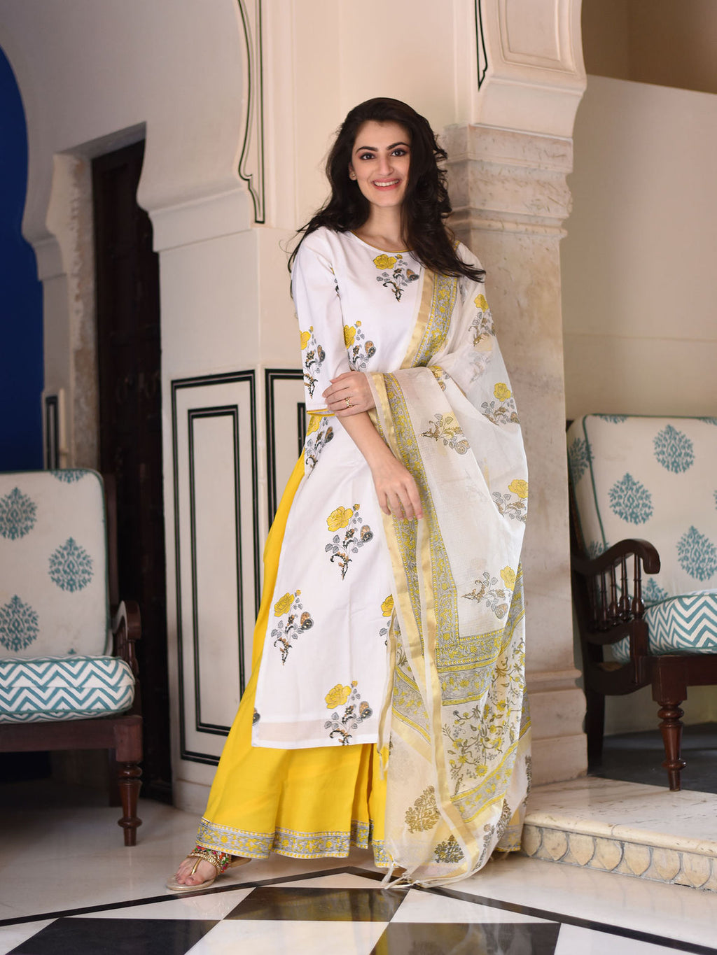 WHITE YELLOW MOGRA SUIT SET