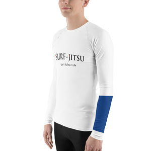 Men's Ranked BJJ or Surfing Surf-Jitsu Rash Guard - Blue Belt on White