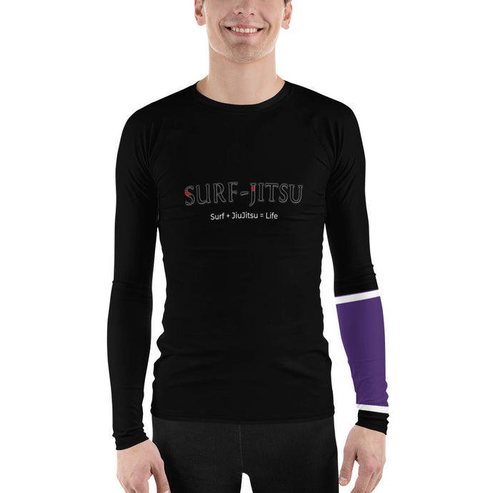 Men's Ranked BJJ or Surfing Surf-Jitsu Rash Guard - Purple Belt on Black