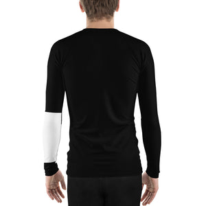 Men's Ranked BJJ or Surfing Surf-Jitsu Rash Guard - White Belt on Black