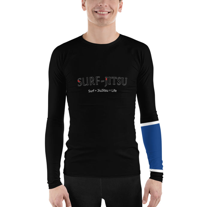 Men's Ranked BJJ or Surfing Surf-Jitsu Rash Guard - Blue Belt on Black