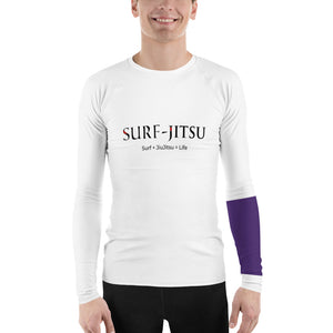 Men's Ranked BJJ or Surfing Surf-Jitsu Rash Guard - Purple Belt on White