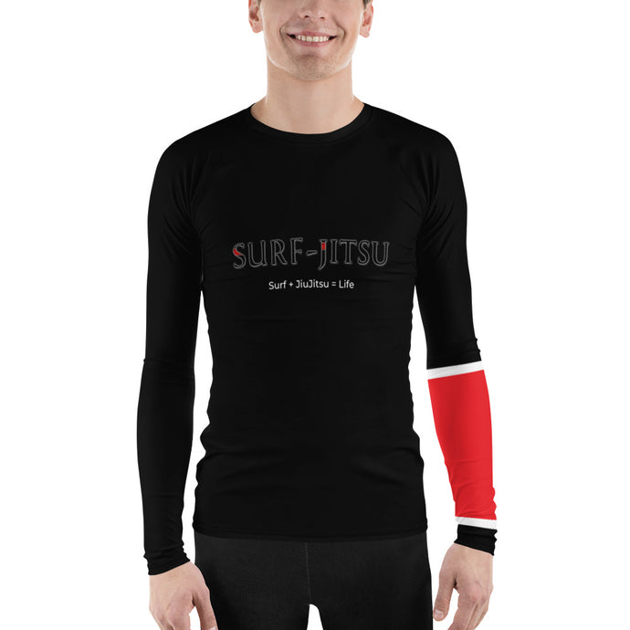Men's Ranked BJJ or Surfing SurfJitsu Rash Guard - Black Belt on Black